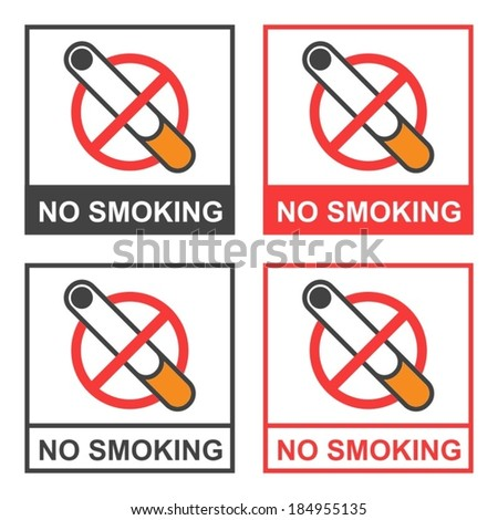 no smoking cigarette sign - stock vector
