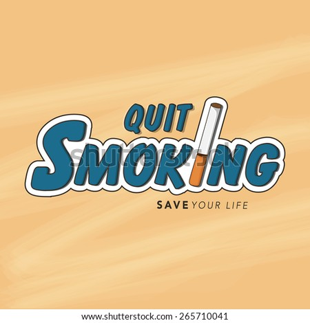 No Smoking Day poster, banner or flyer design with text Quit Smoking and cigarette. - stock vector