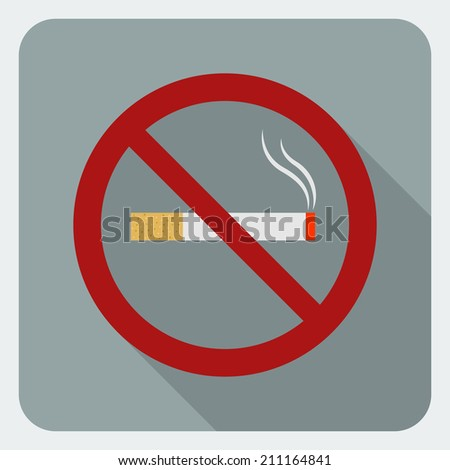 No smoking flat icon. Stop smoking symbol. Icon for public places.