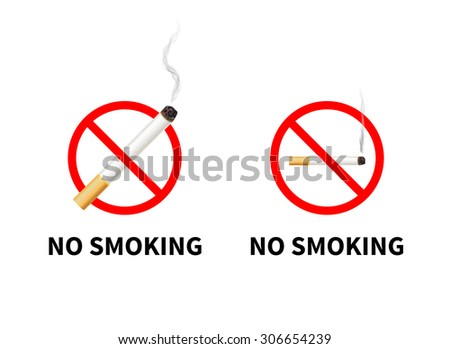 No smoking forbidden signs with realistic cigarette with smoke, isolated on white. - stock vector