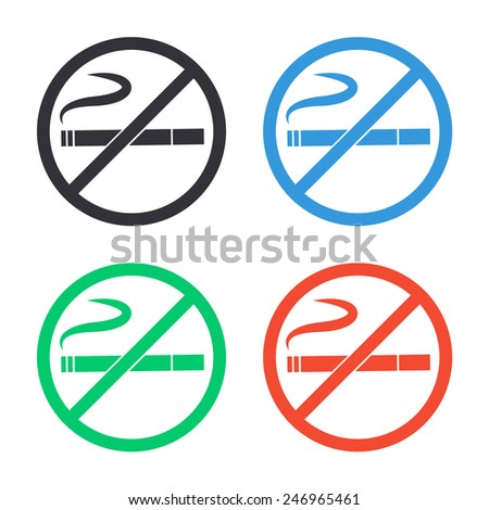 no smoking icon - colored vector illustration - stock vector