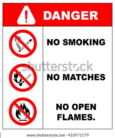 No smoking, No open flame, Fire, open ignition source and smoking prohibited signs. - stock vector