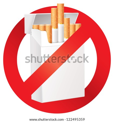 No smoking. On the dangers of smoking. Cigarette pack. Prohibitory sign. Isolated on white background. Vector illustration eps 10 - stock vector