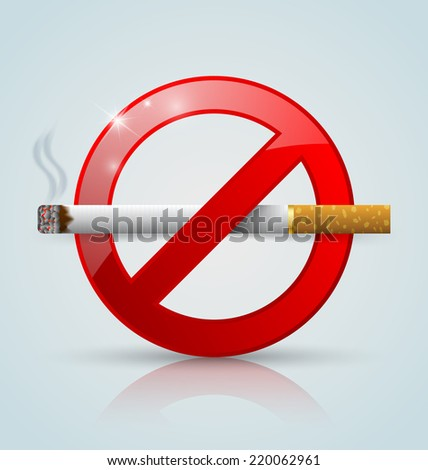 No smoking prohibition sign with reflection on pale background - stock vector