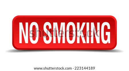 no smoking red 3d square button isolated on white - stock vector