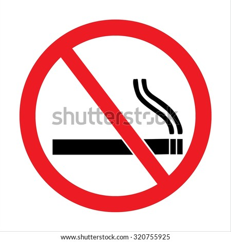 No smoking sign. A sign showing no smoking is allowed. Red round no smoking sign. Smoking prohibited symbol isolated on white background