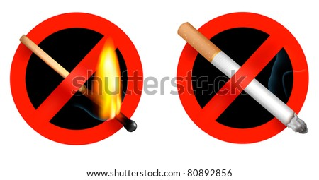 No smoking sign and no matchstick fire sign. Vector illustration. - stock vector