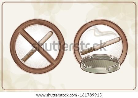 No Smoking Sign and the Smoking Area Sign - stock vector