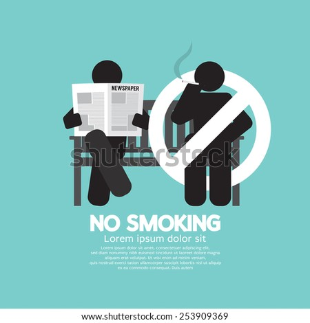 No Smoking Sign At Public Place Vector Illustration - stock vector