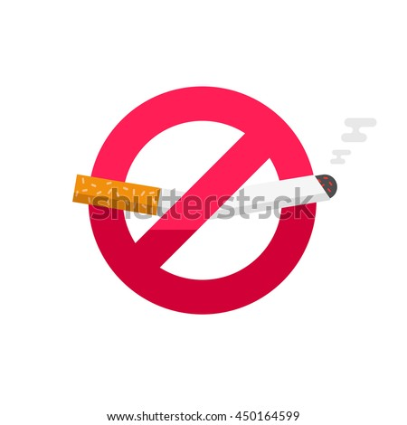 No smoking sign, don't smoke vector icon badge isolated on white background, broken cigarette label