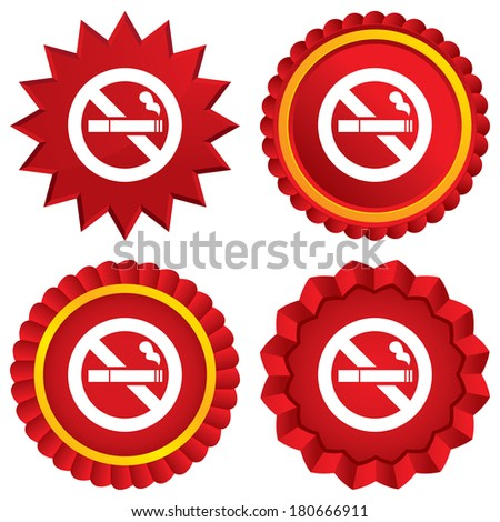 No Smoking sign icon. Cigarette symbol. Red stars stickers. Certificate emblem labels. Vector - stock vector