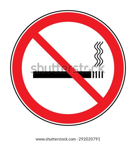 No smoking sign. Icon showing no smoking is allowed. Red round no smoking sign. Smoking prohibited symbol isolated on white background. Stock Vector Illustration. You can change color and size
