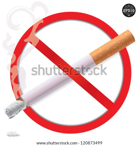 No Smoking Sign, Illustration on white background. Vector - stock vector