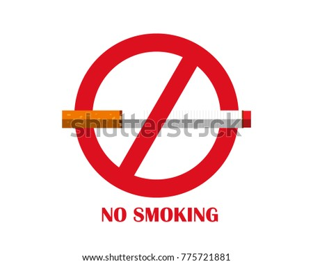 No smoking sign on a white background. Flat Design vector icon.