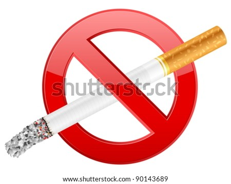 No smoking sign on a white background. Vector illustration. - stock vector