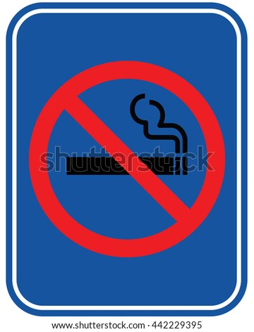 No smoking sign on blue background. Vector illustration.