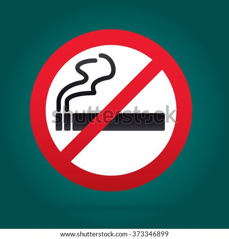 No smoking sign. Rounded. Green Backround.