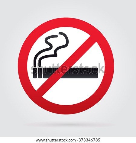 No smoking sign. Rounded. White Backround.