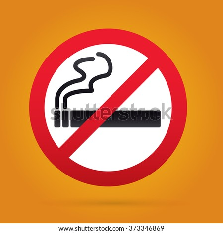 No smoking sign. Rounded. Yellow Backround.