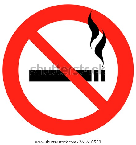 No Smoking Sign, Vector Illustration isolated on White Background.  - stock vector