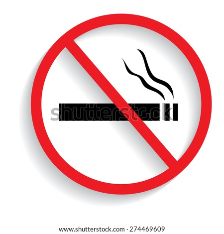 No smoking sign with shadow - stock vector