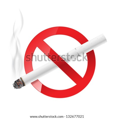 no smoking sign with white cigarette - stock vector