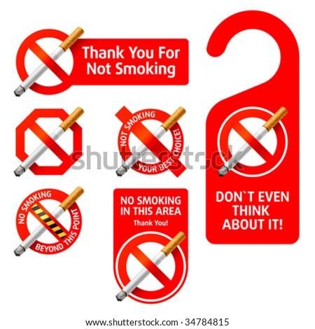 No Smoking signs. Vector. Detailed portrayal. - stock vector
