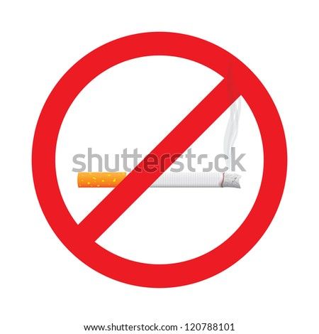 No smoking stop sign symbol - illustration - stock vector
