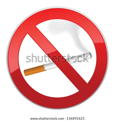 No smoking symbol. Inscription made of cigarettes on pure background - stock vector