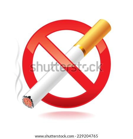 No smoking symbol isolated on white photo-realistic vector illustration - stock vector