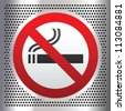 No smoking symbol on a chromium background - stock photo