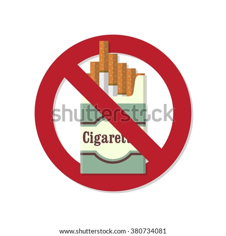 No smoking. The problem of smoking. No smoking flat icon. No smoking flat background. The crossed pack of cigarettes. Cigarettes pack with shadow. Smoking kills. Vector illustration. Flat design - stock vector