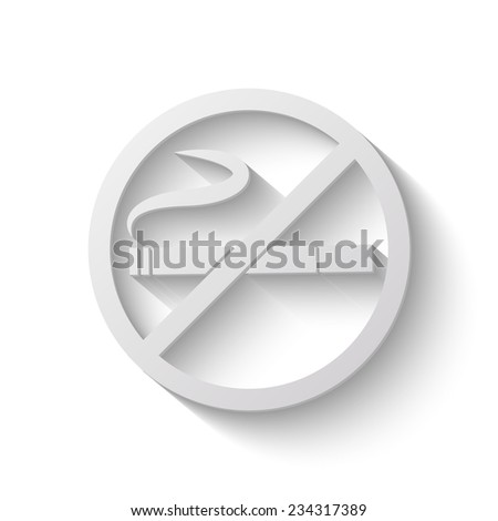 no smoking vector icon - paper illustration - stock vector