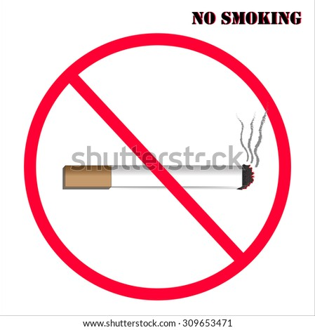 no smoking with red sign ban and white background