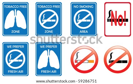 No smoking zone and tobacco free area sign concept - stock vector