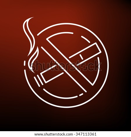 No smoking zone icon. No cigarette area sign. Smoking prohibited symbol. Thin line icon on red background. Vector illustration. - stock vector