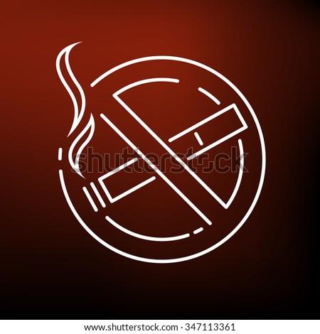 No smoking zone icon. No smoking zone sign. No smoking zone symbol. Thin line icon on red background. Vector illustration. - stock vector