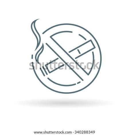 No smoking zone icon. Smoking prohibited sign. No cigarette smoke area symbol. Thin line icon on white background. Vector illustration. - stock vector