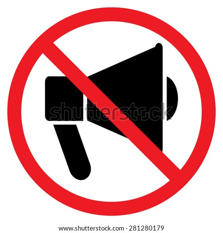 No speaker, no audio. Red prohibition sign. Stop symbol