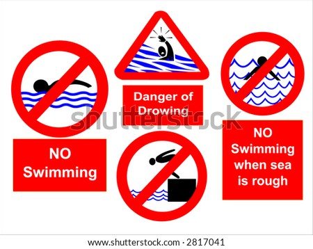 No swimming during rough seas or diving signs - stock vector