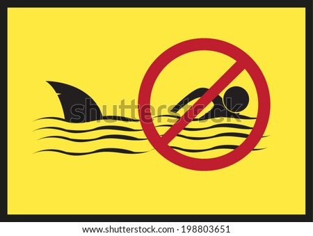 No Swimming. Shark Infested Waters Vector Eps10. - stock vector