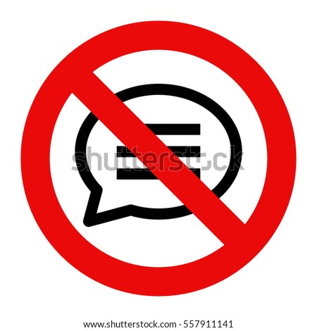 No talking sign. No speaking symbol isolated on white background
