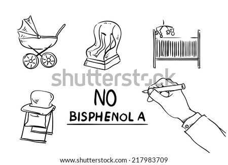 No to Bisphenol A, BPA.  vector whiteboard drawings of things that may contain BPA.  stroller, car seat, bed,  cot, seat. - stock vector