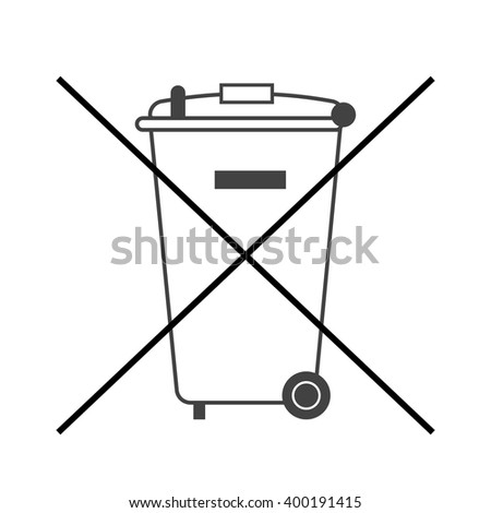 No trash bin icon. Crossed litter. Container recycle. Symbol of garbage, rubbish, dump. Prohibited element label public information. Black warning sign isolated on white background Vector illustration - stock vector