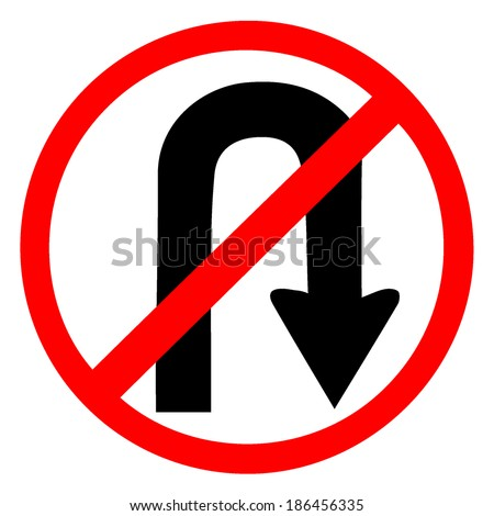 No u turn red circle traffic sign isolated on white  - stock vector