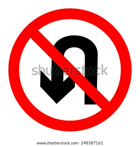 No U turn sign vector - stock vector
