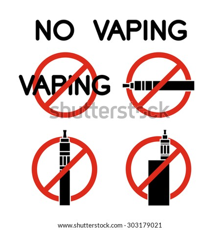 No vape icons. No veping prohibition sign - stock vector