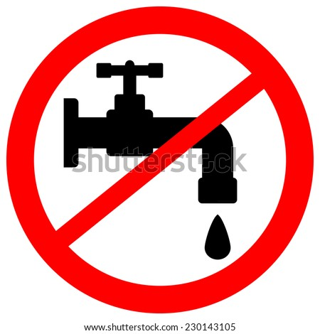 No water tap sign on white background. Vector illustration. - stock vector