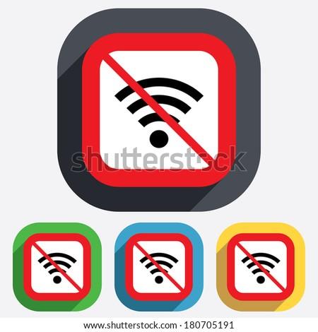 No Wifi sign. Wi-fi symbol. Wireless Network icon. Wifi zone. Red square prohibition sign. Stop flat symbol. Vector - stock vector
