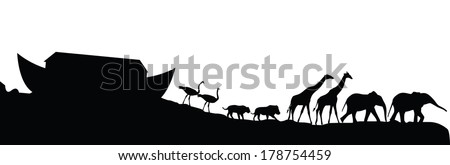 Noah's ark and animals isolated on white, vector illustration - stock vector